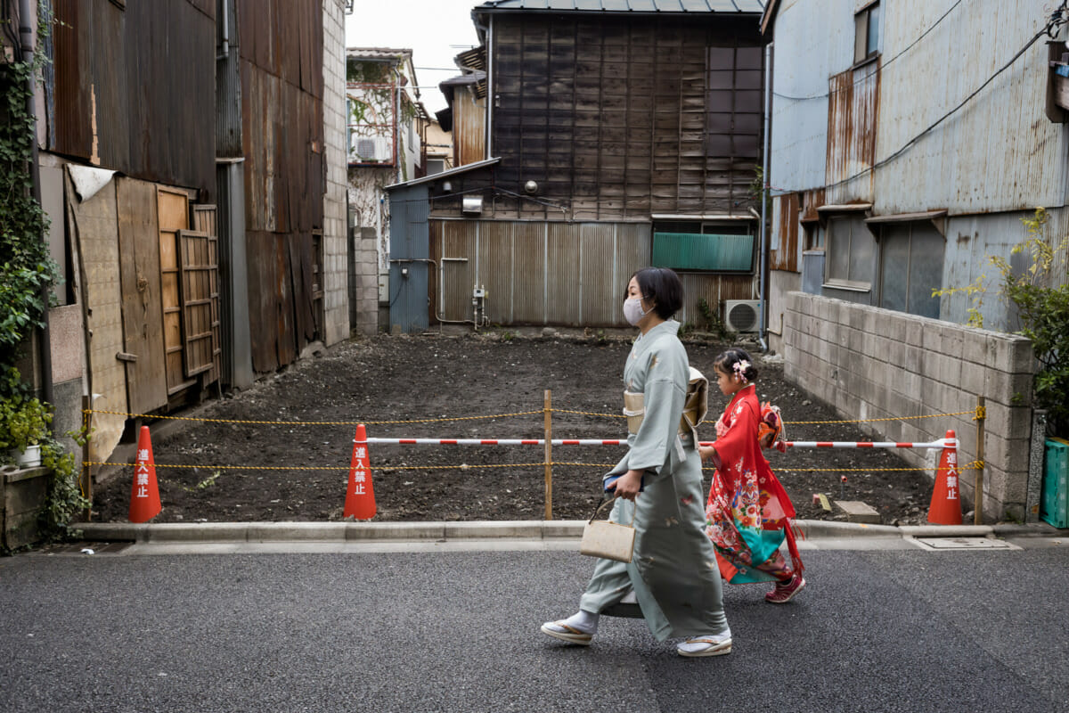 Tokyo kimonos and patched up buildings