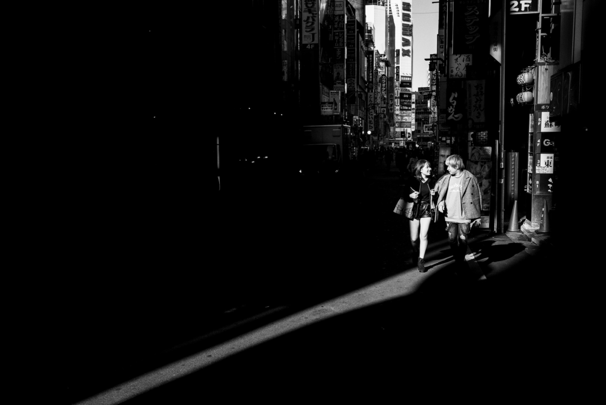 a happy young Tokyo couple in the light