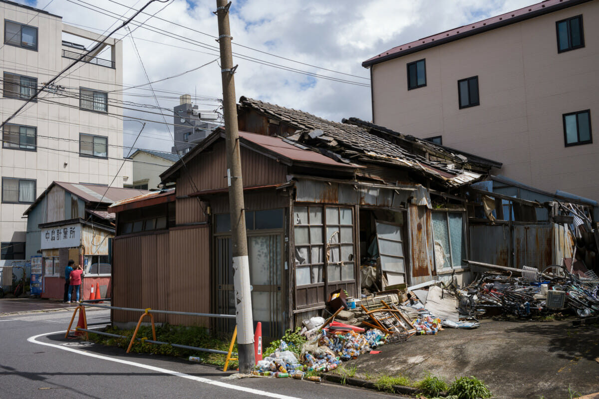 An abandoned and collapsing old Tokyo house