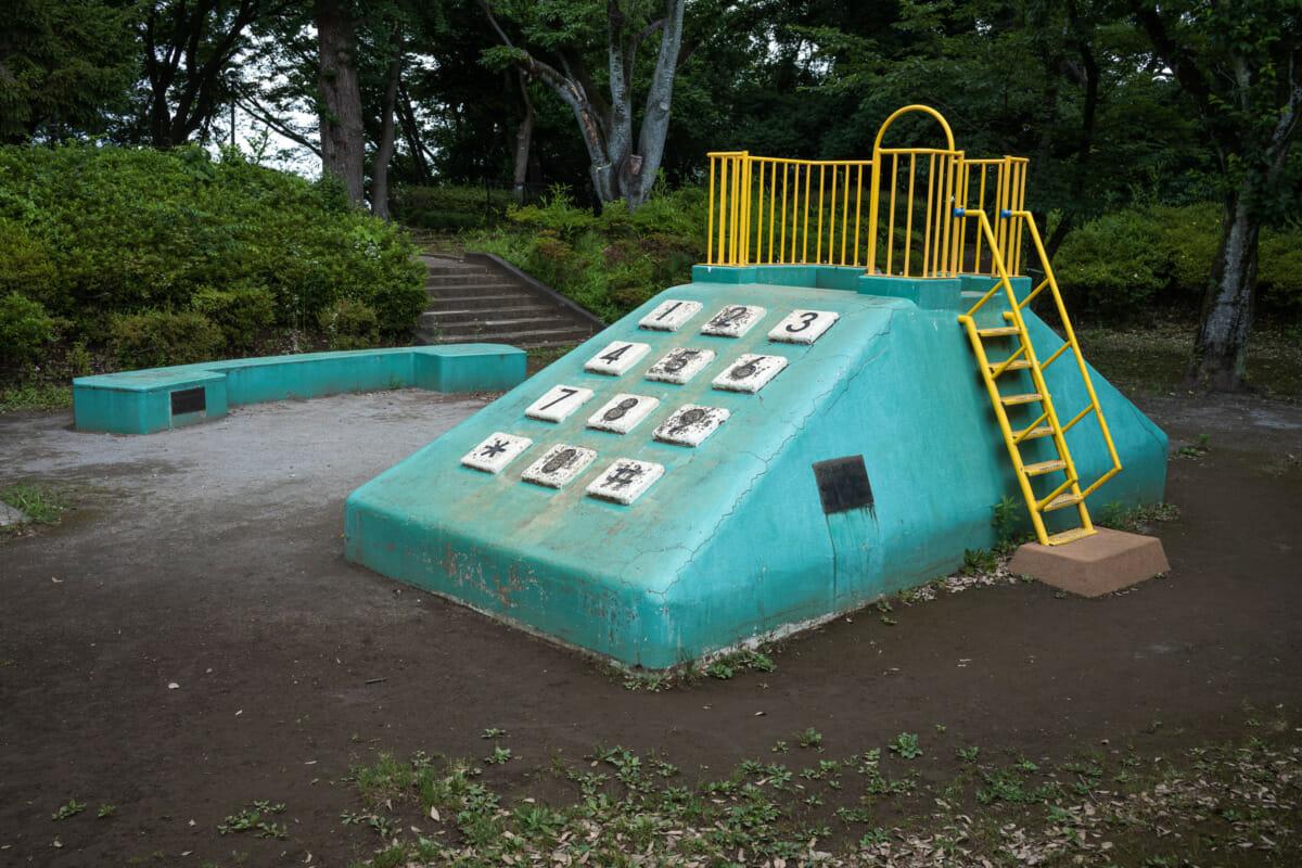concrete and retro push-button phone slide