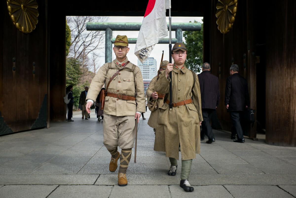 Japanese nationalists at Tokyo's Yasukuni Shrine on National Foundation Day