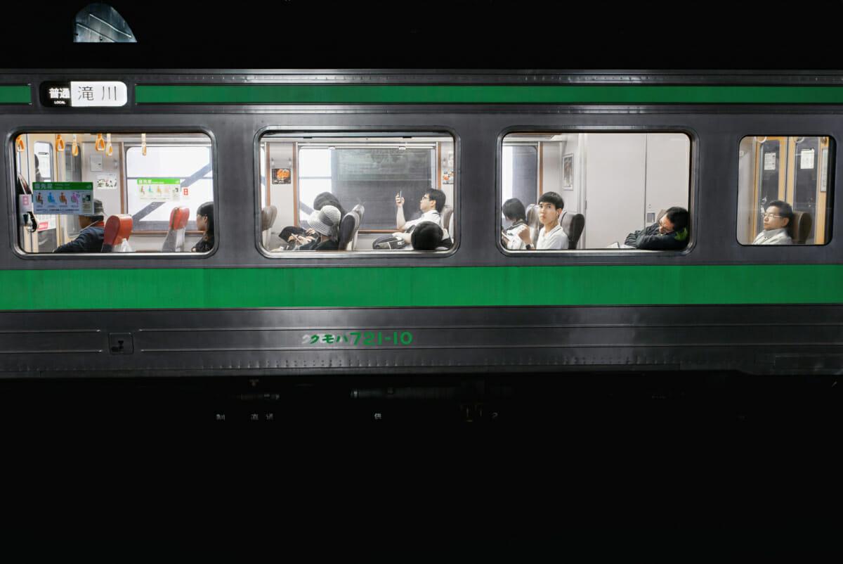 Japanese passing train eye contact