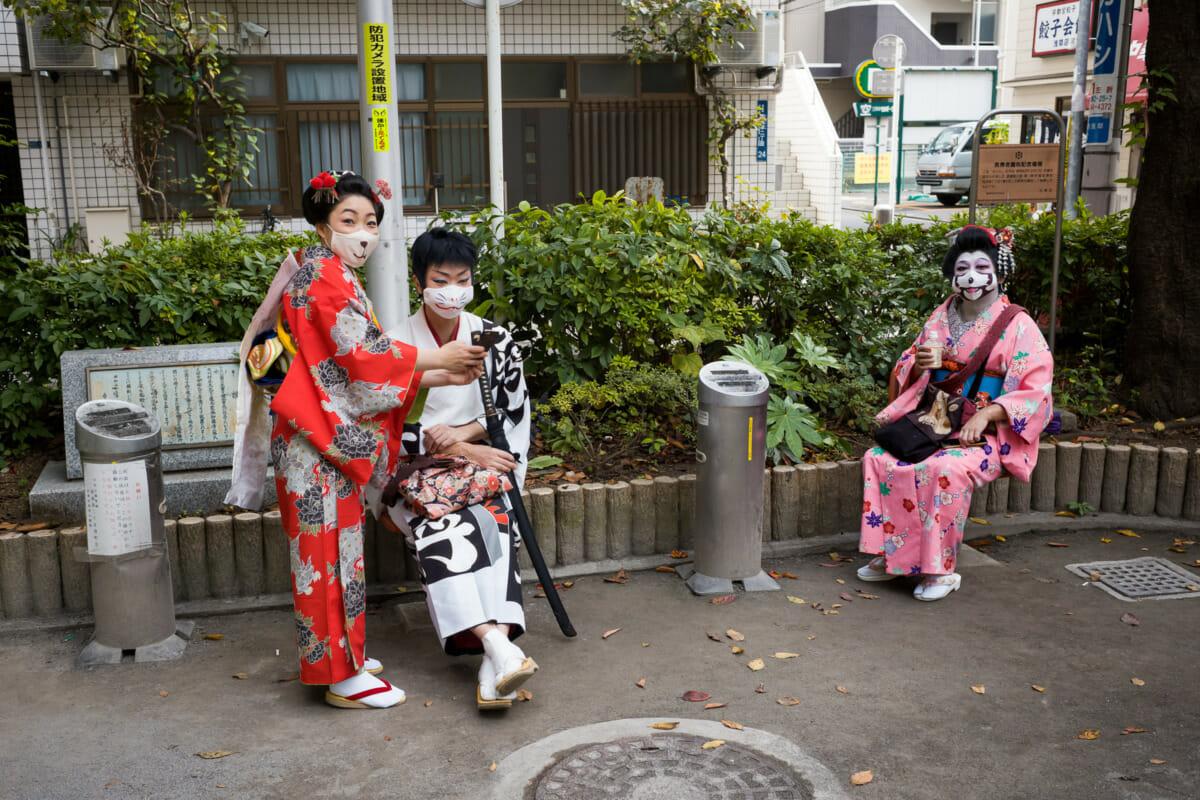 Tokyo kimono colours and comedy masks