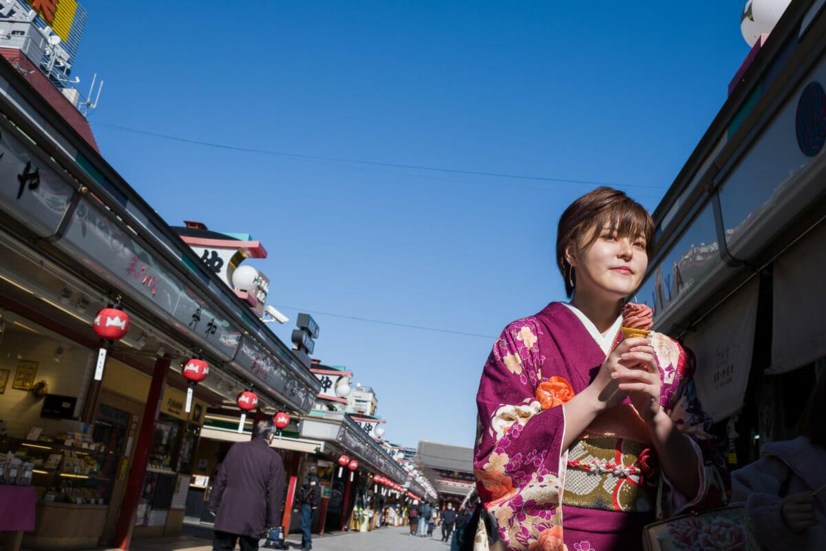 Tokyo kimono and winter ice cream