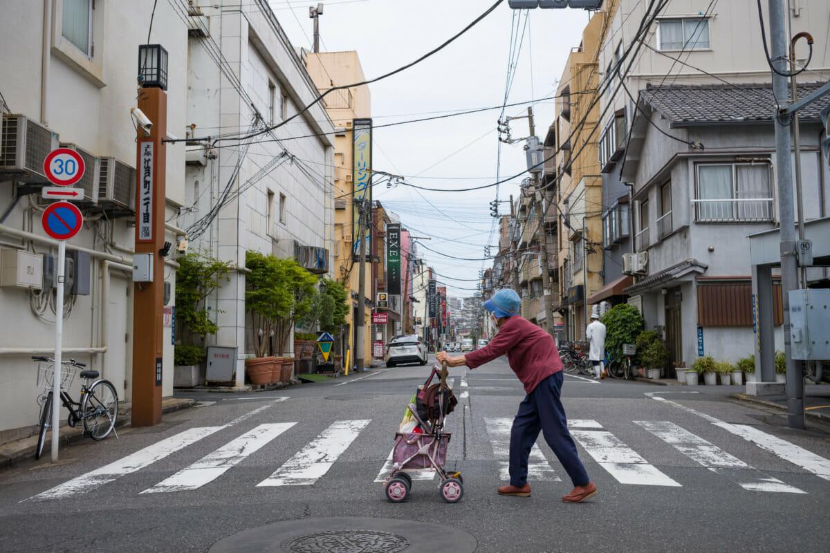 An old lady in Tokyo's Yoshiwara red light district