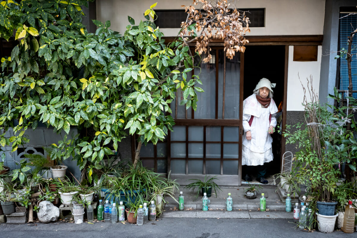 odd Japanese woman in old tokyo