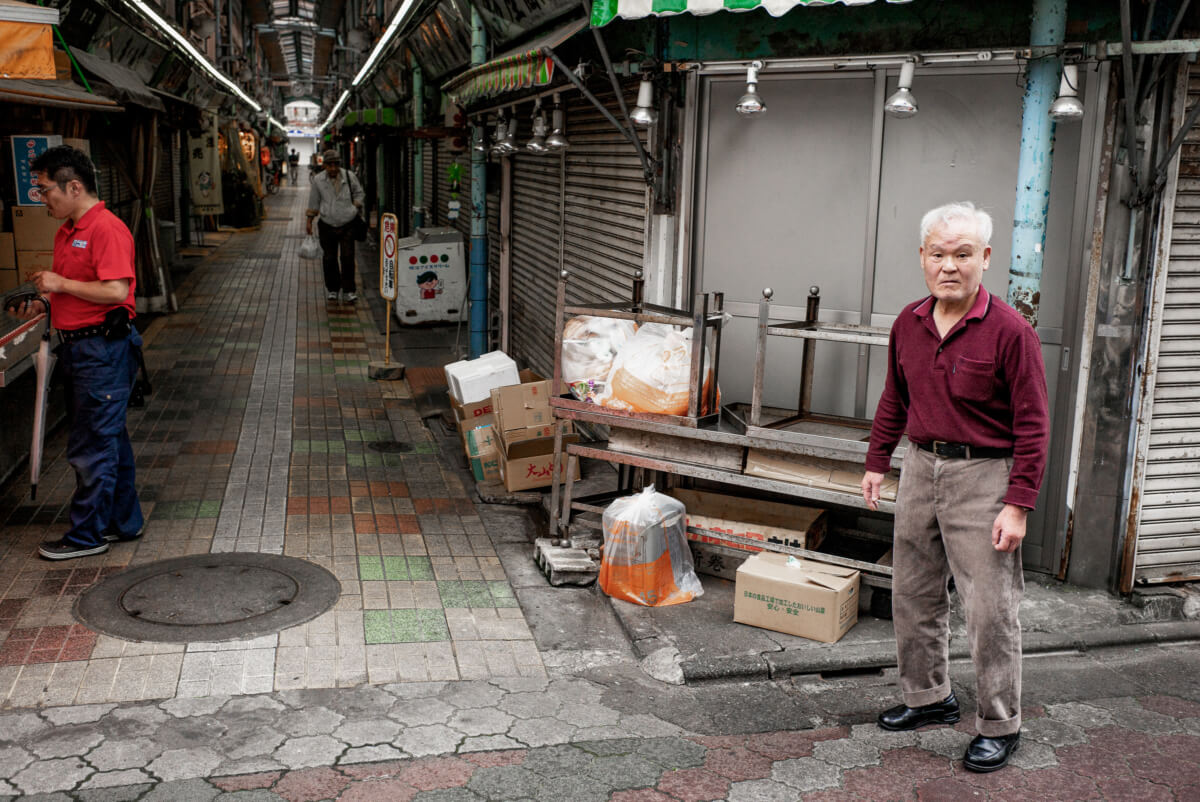 old school Tokyo shopping street looks and stares