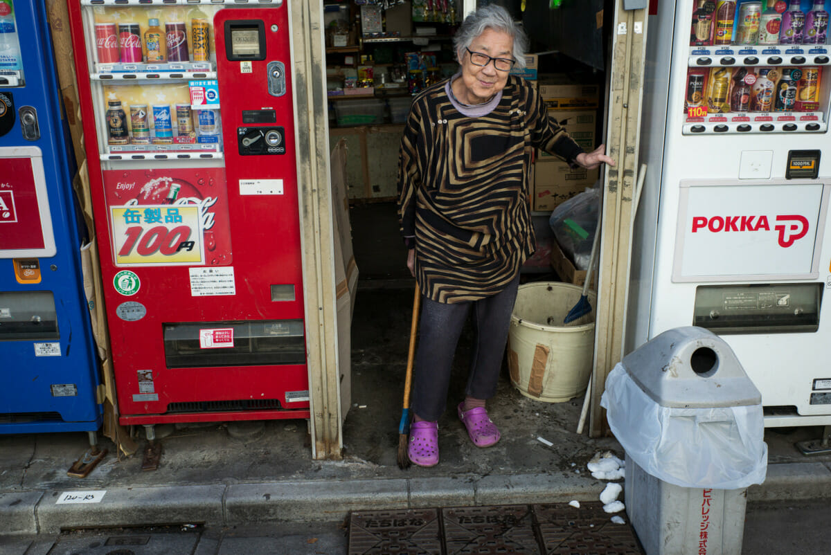 a traditional old Tokyo sweet shop and its elderly owner