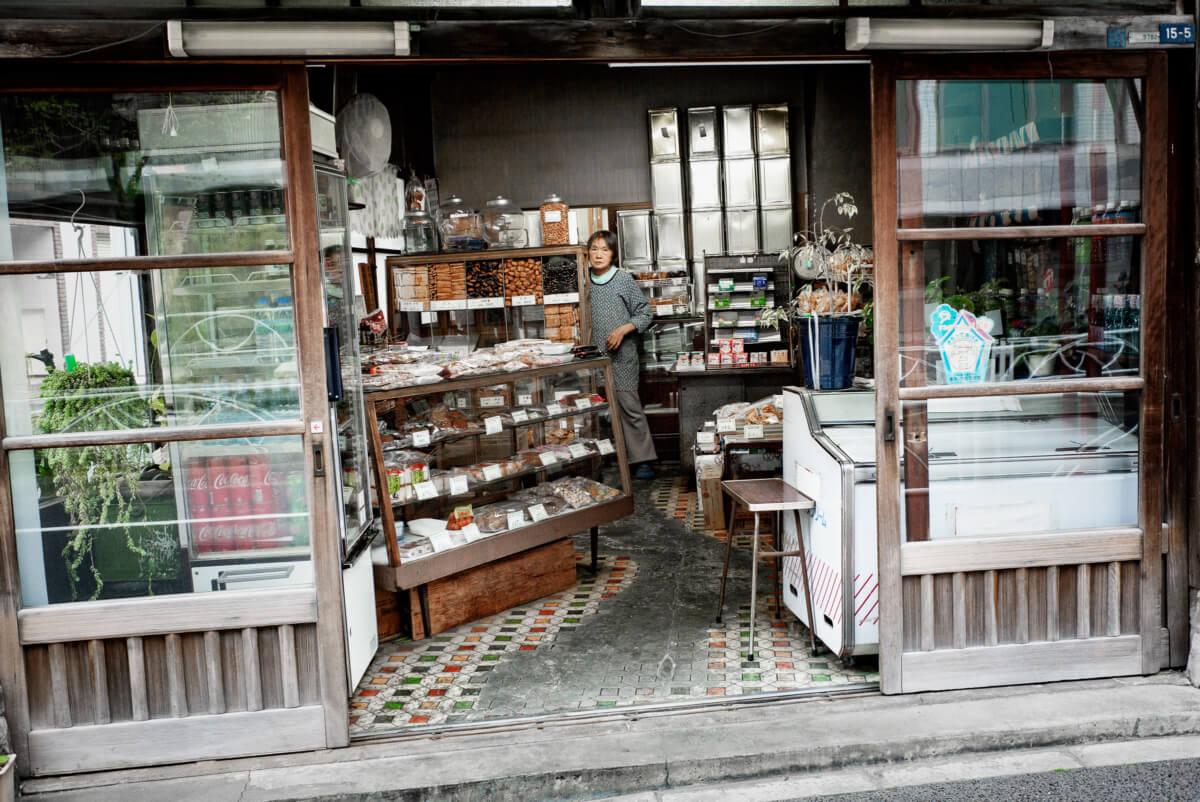 a worn and faded Tokyo rice cracker shop