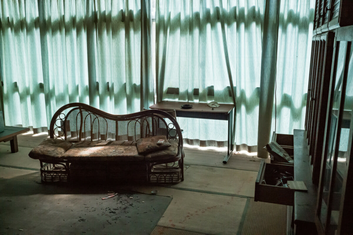 a quiet, serene and abandoned Japanese hotel