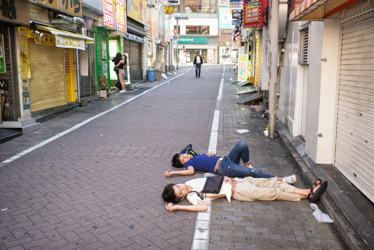 Japanese drunks passed out in Shibuya