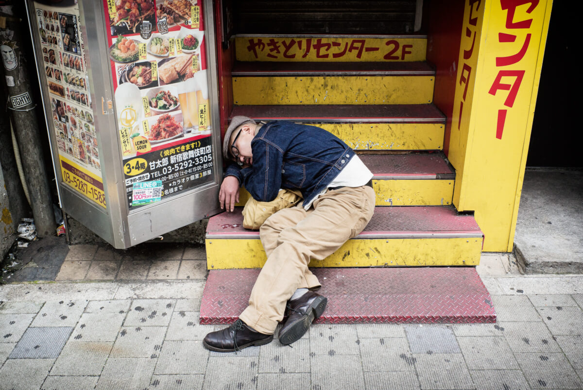 Japanese drunk passed out and asleep
