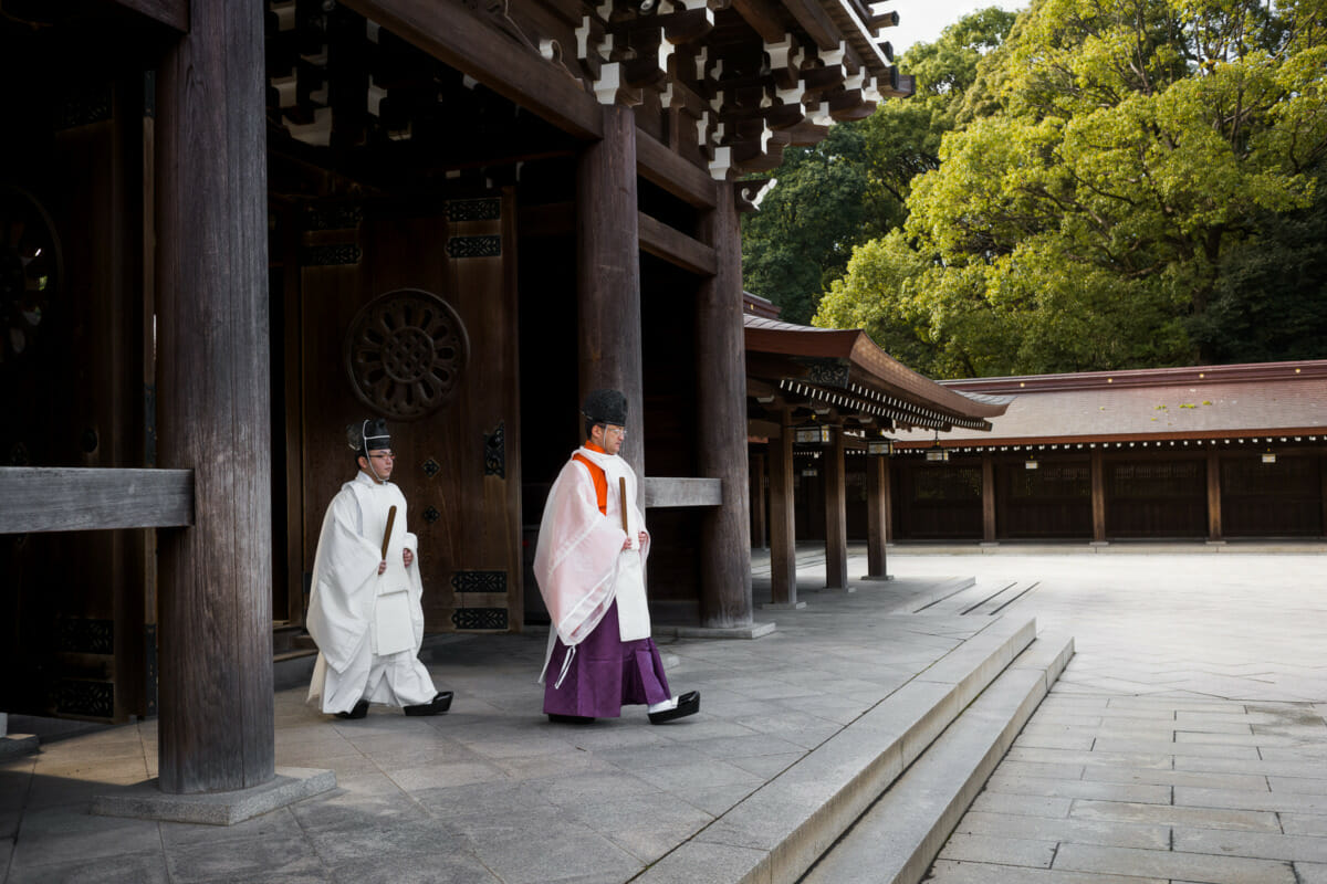 Japanese Shinto priests in Tokyo