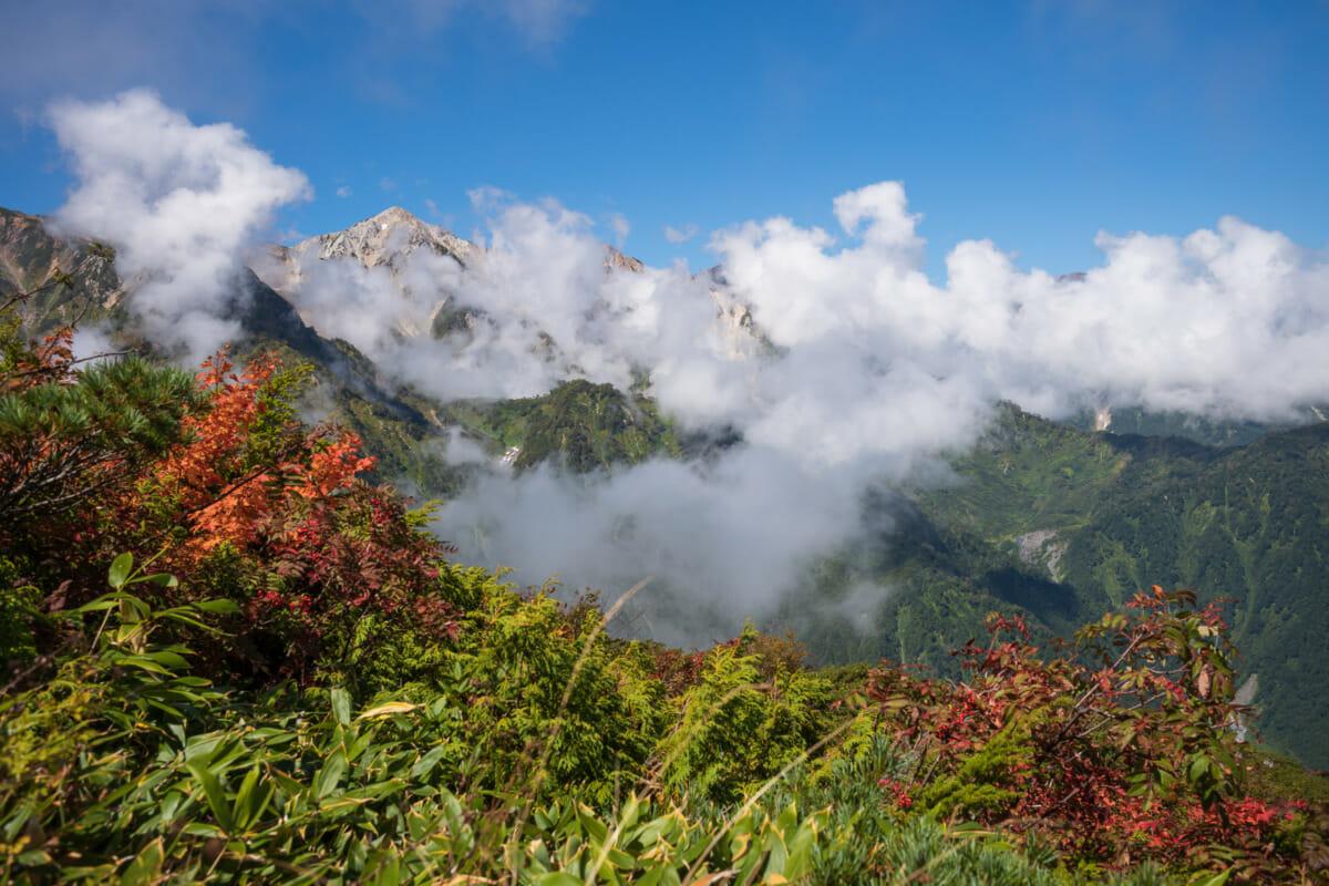the Japanese alps on the cusp of autumn