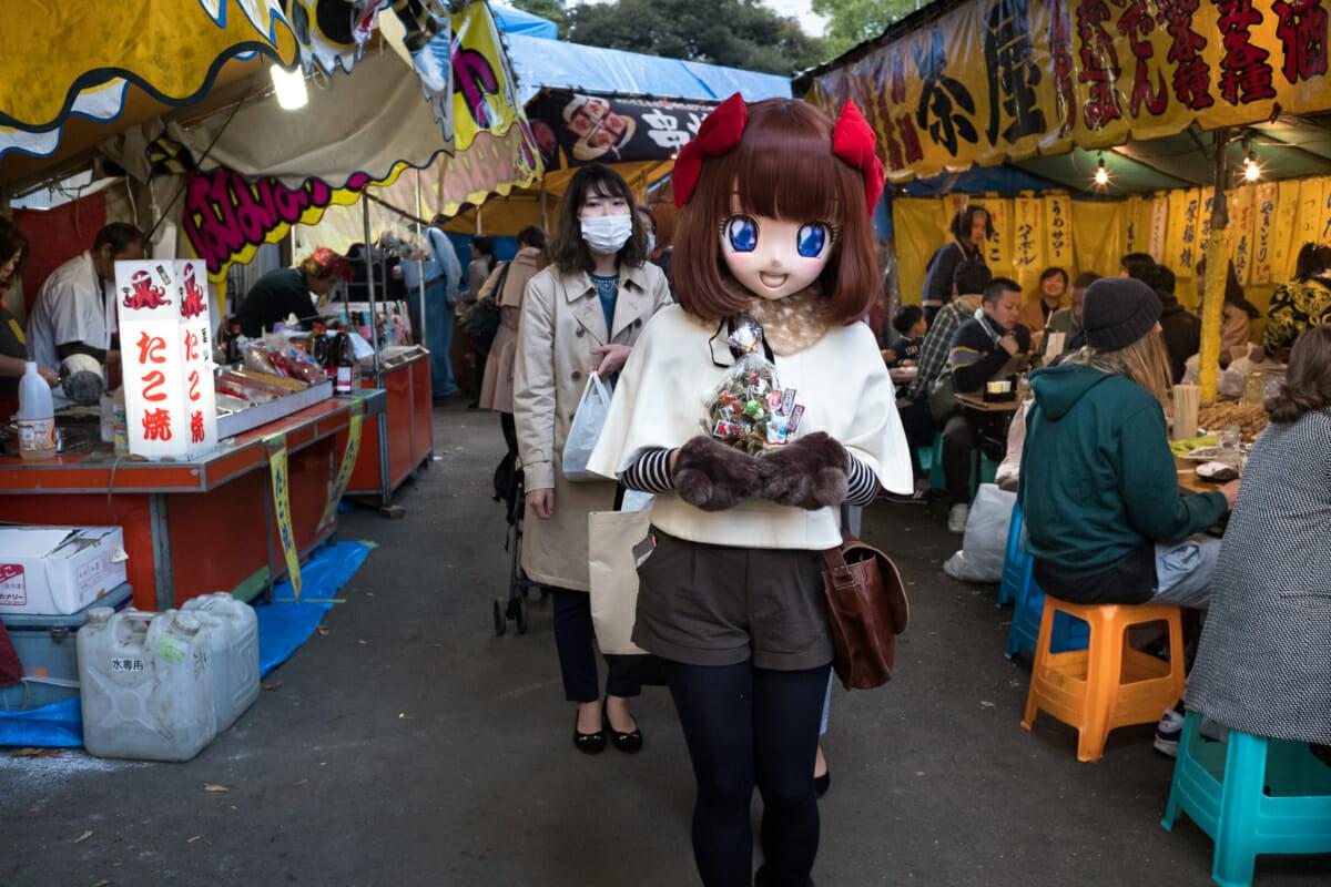 Animegao kigurumi cosplay at a Tokyo festival
