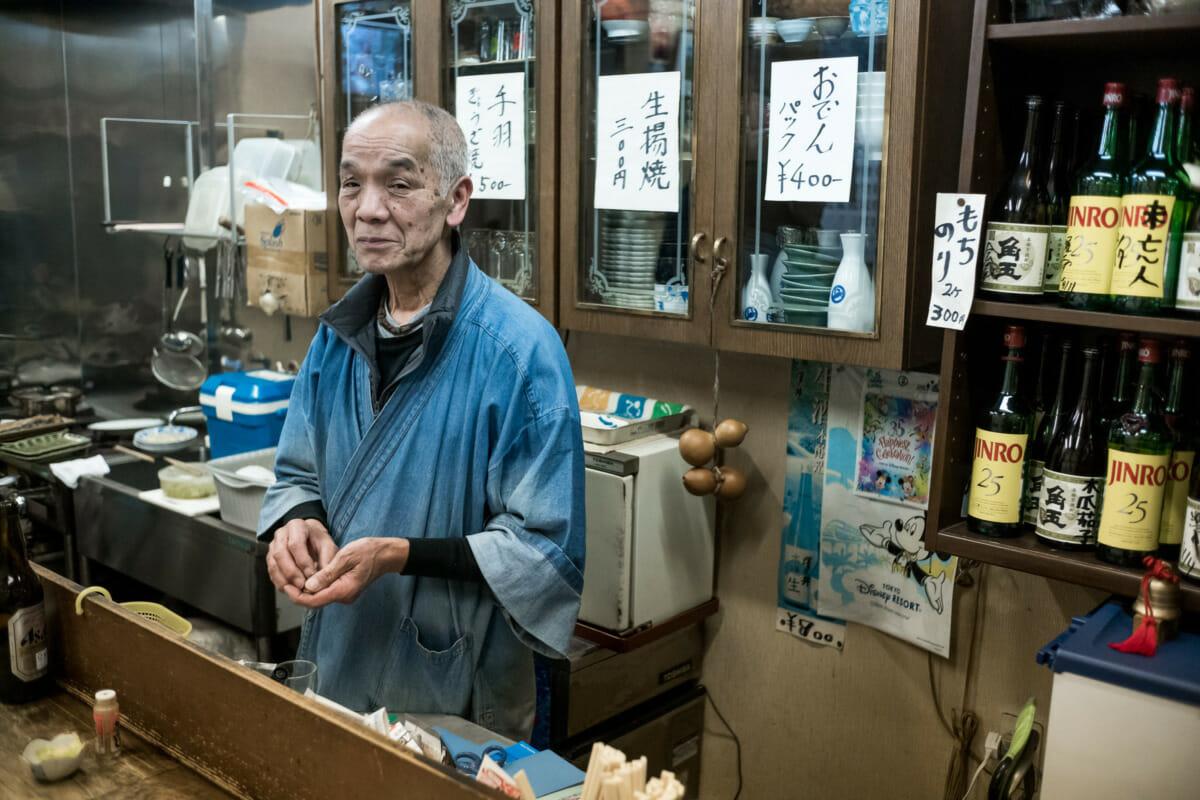a former barber now septuagenarian Tokyo bar owner