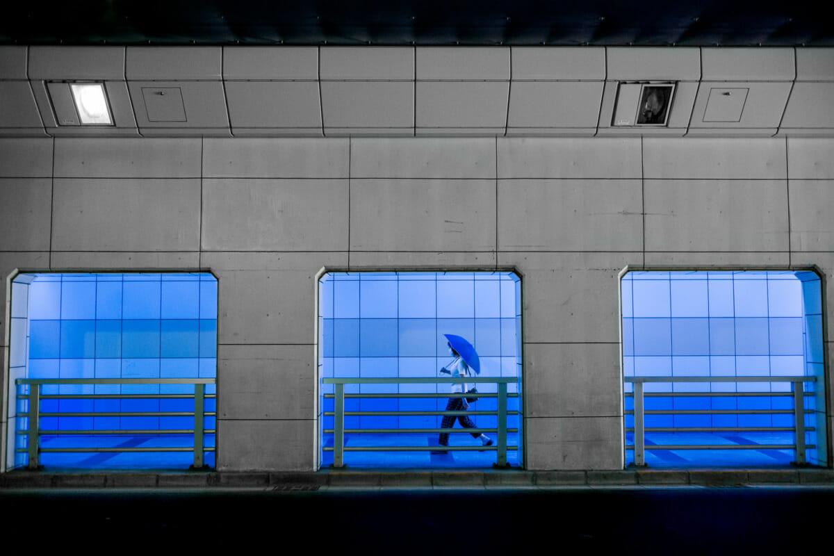 Tokyo blue underpass umbrella