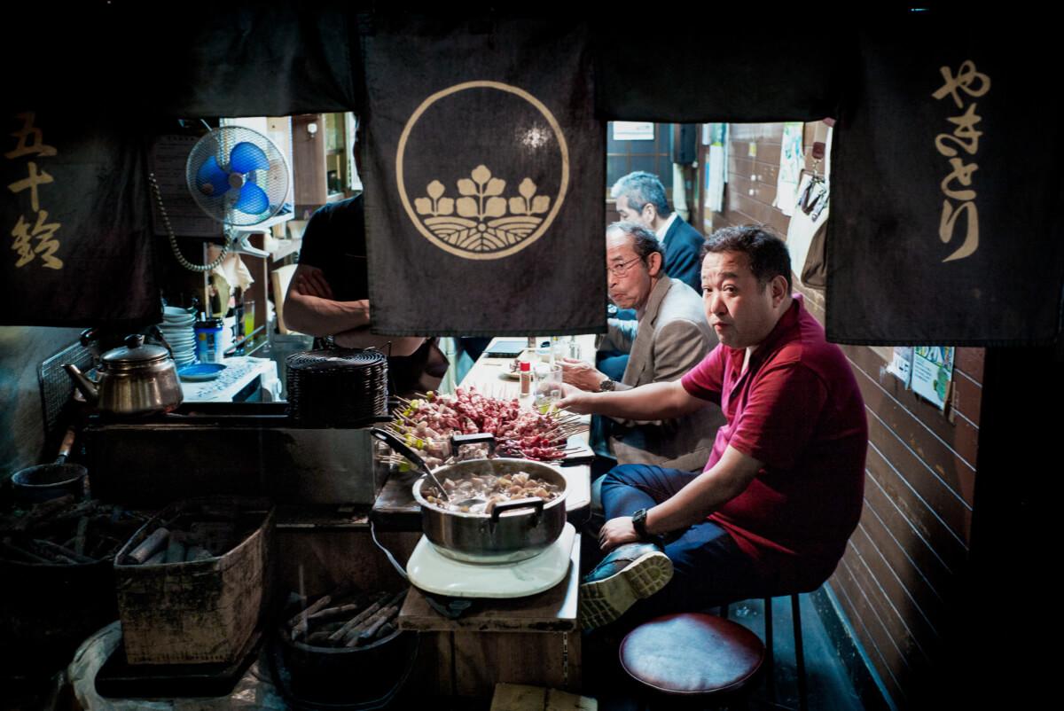 looks from inside a little tokyo bar