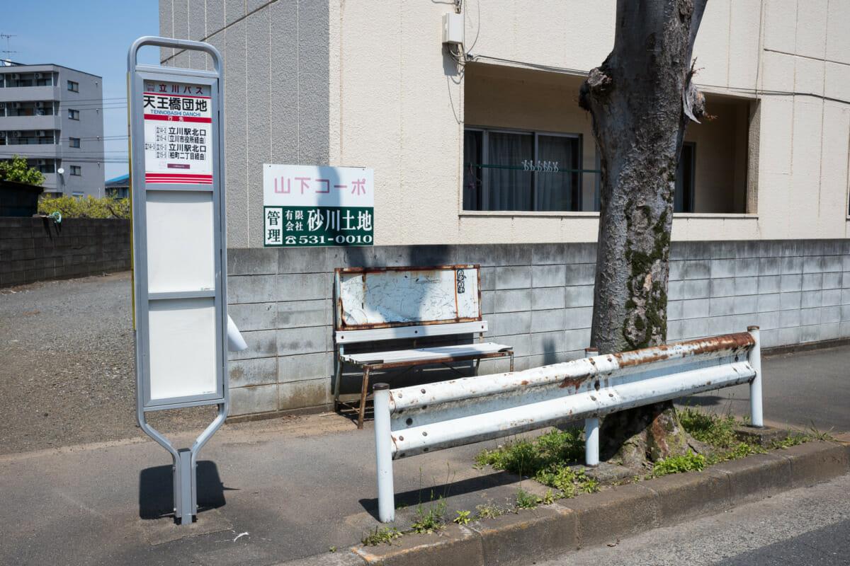 The silence of suburban Tokyo bus stop seats