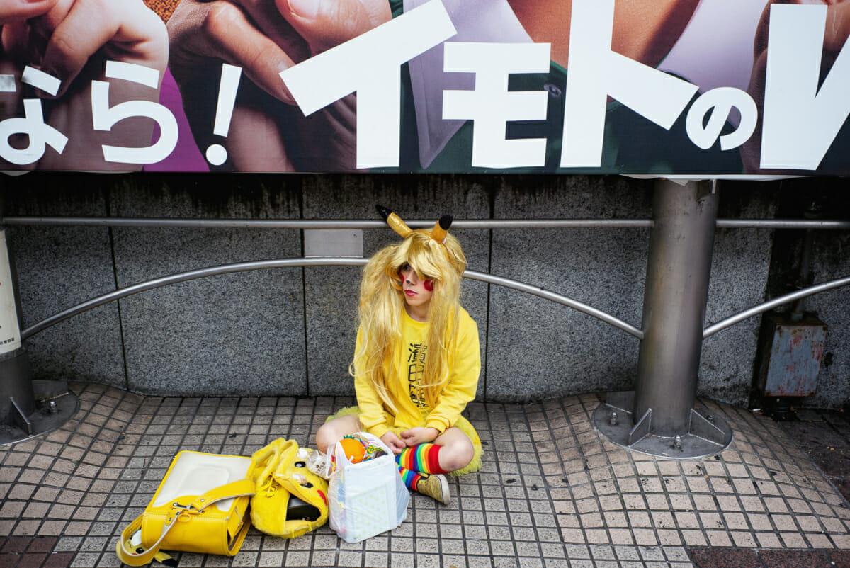 a sad looking Tokyo halloween Pikachu