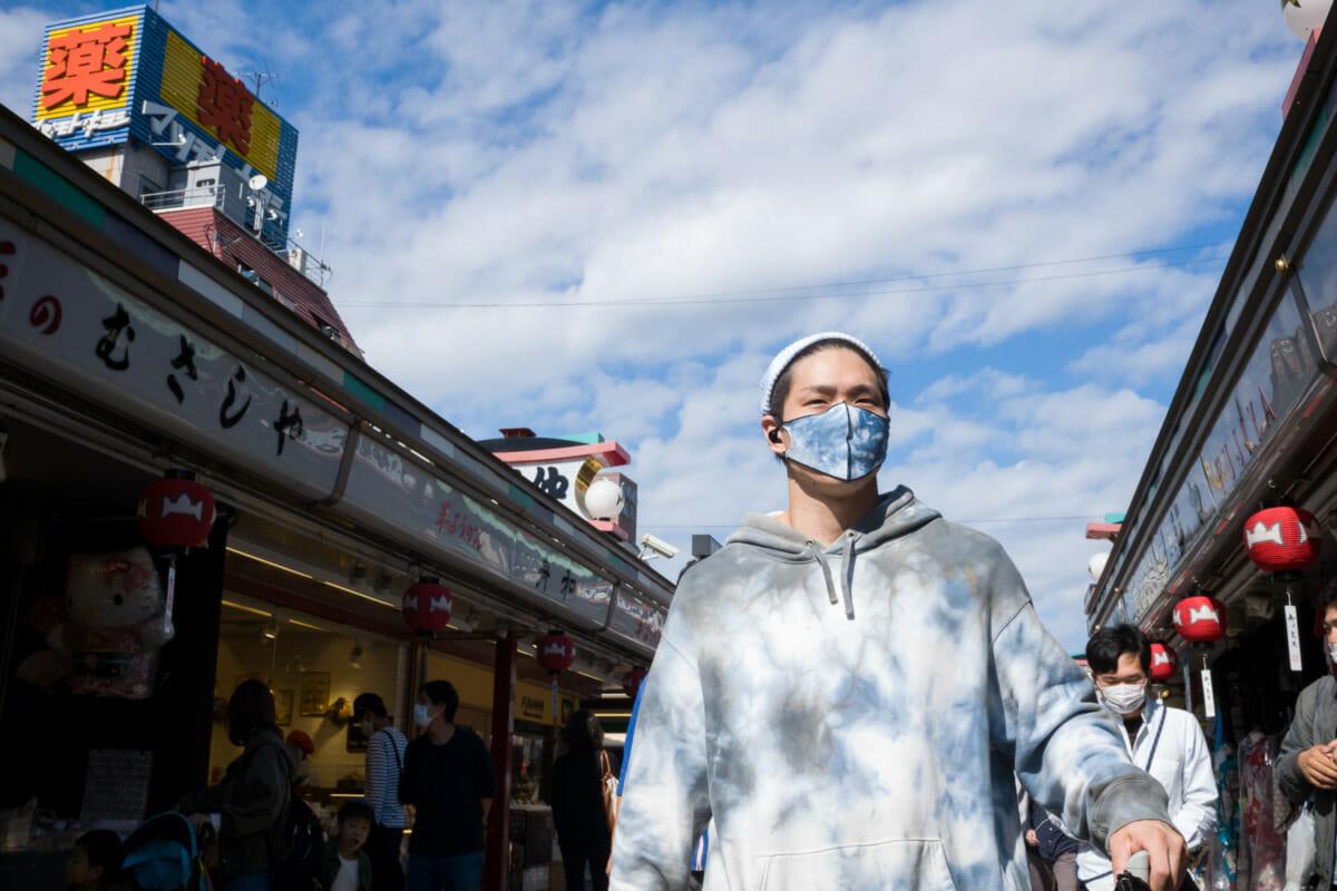 tokyo mask matching the autumn sky