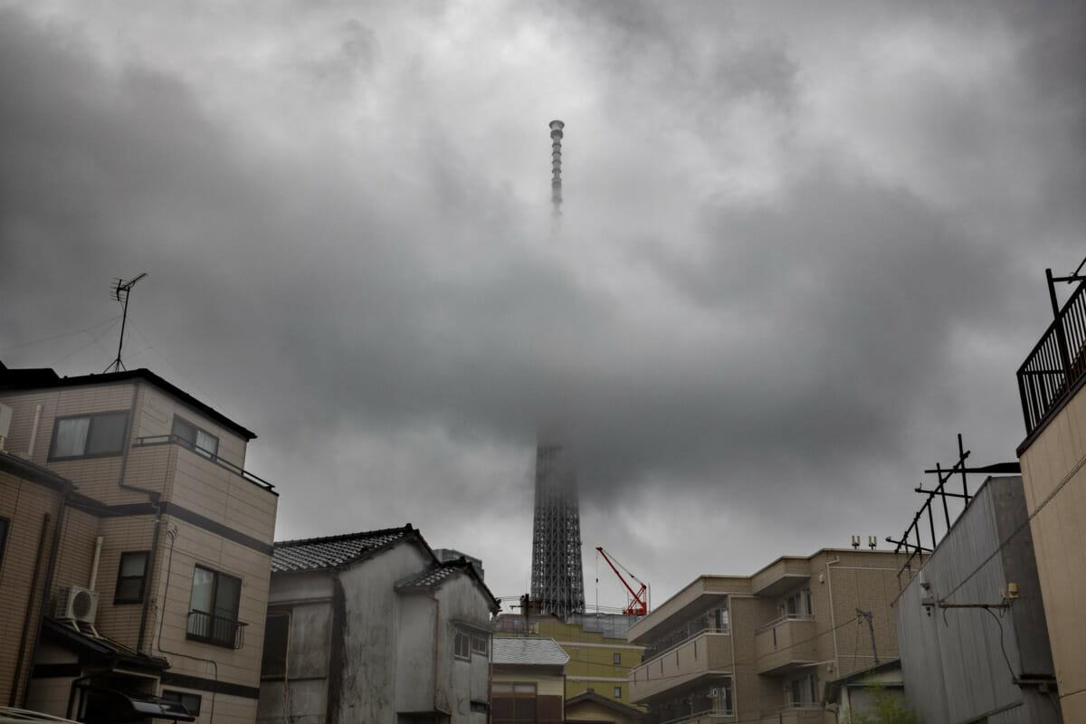 Tokyo Skytree in the rainy season clouds