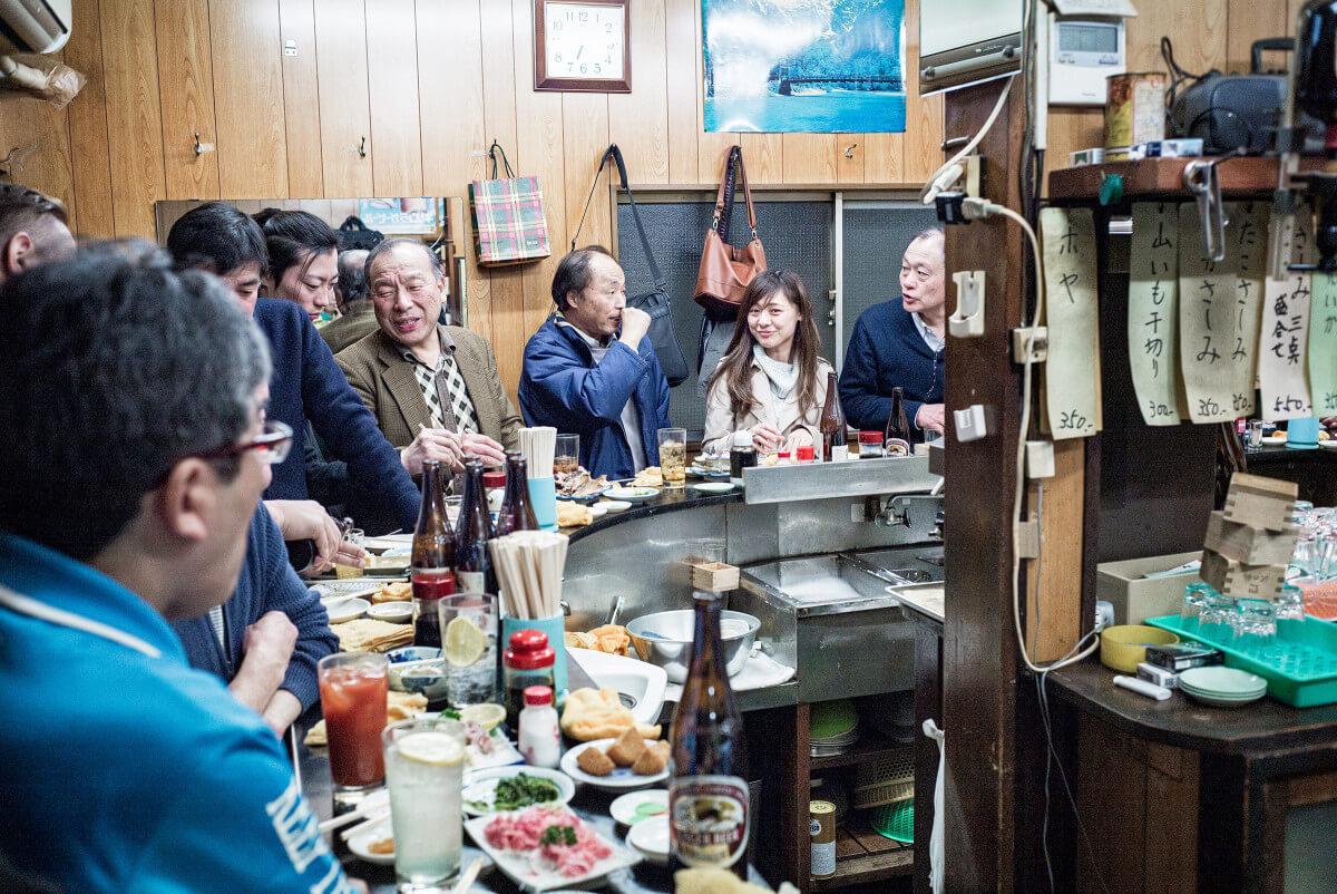 Japanese standing bar smiles