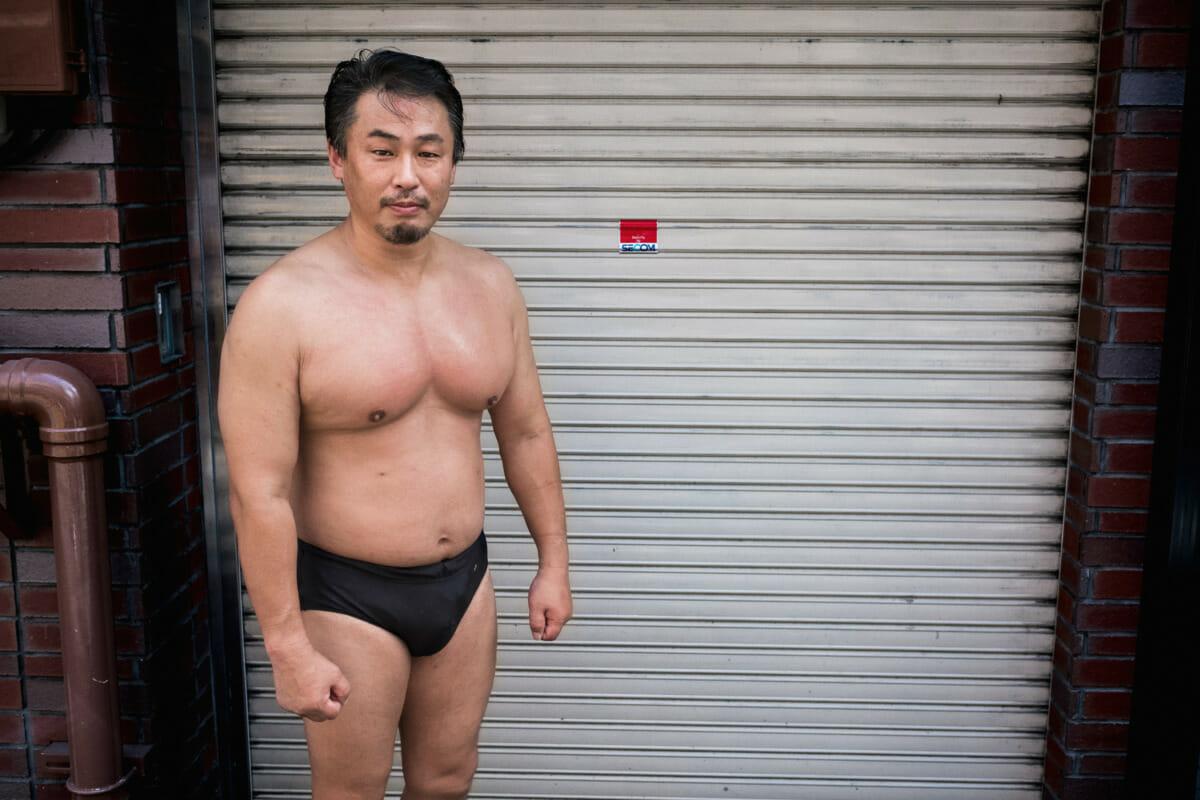 Tokyo street wrestler portrait
