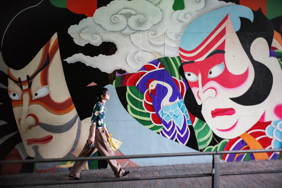 Tokyo urban art traditional faces