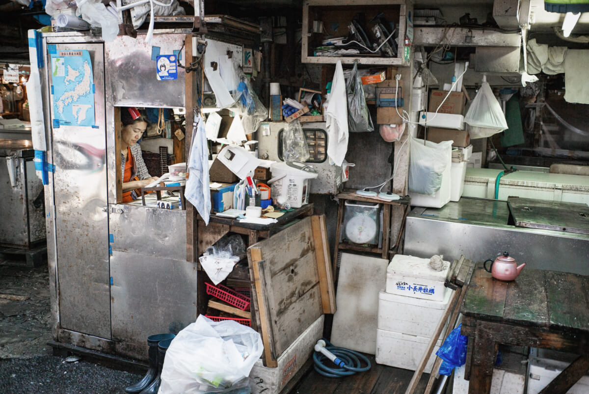 tiny and miserable tsukiji fish market office