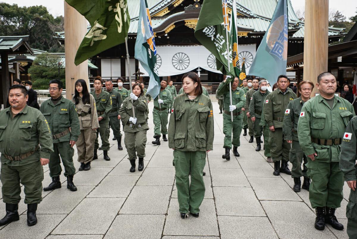 Uniformed nationalists at Yasukuni Shrine