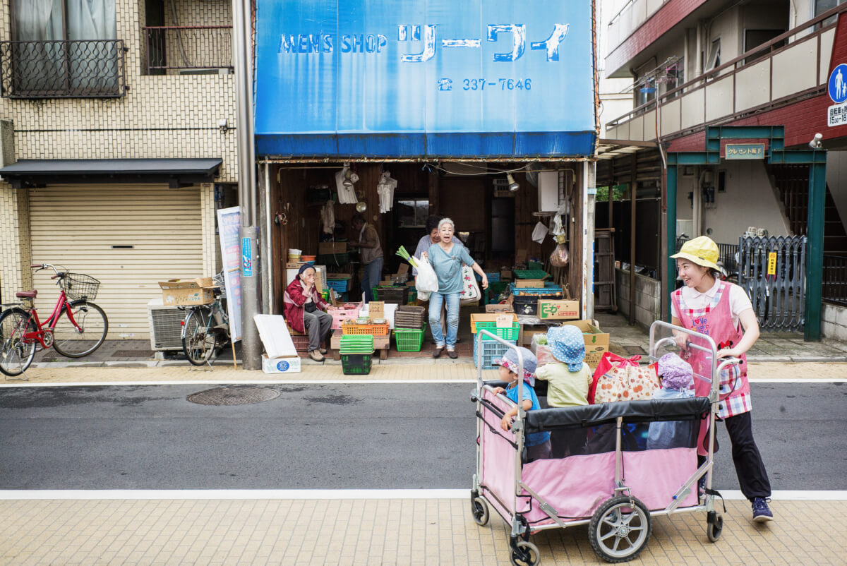 young and old Tokyo street scene
